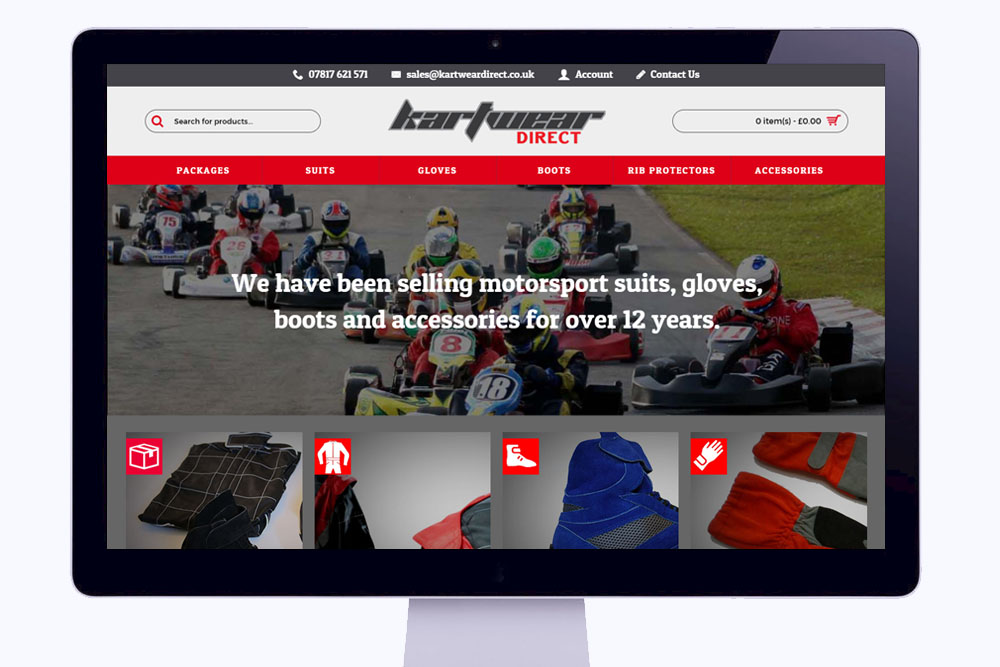 Kartwear Direct Website Homepage